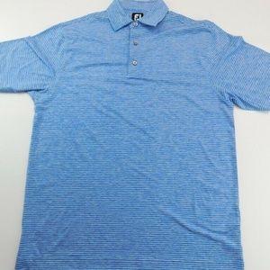 FootJoy Mens Golf Polo Shirt Blue White Striped